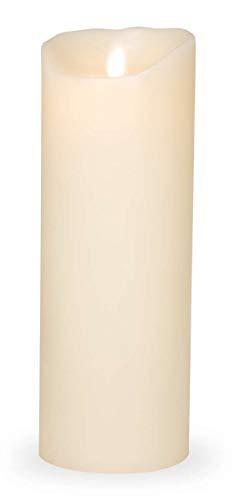 Sompex Flame LED Elektrische Kerze Classic, Echtes Wachs, Flammenlos Flackernd mit Timer, 8 cm x 23 cm, Elfenbein, 35102