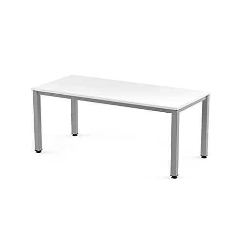 Rocada | Mesa de Escritorio con Estructura de Acero | Mesa de Oficina con Superficie de Madera | Mes de Despacho en Madera Blanca y Estructura Color Gris | 140x80 cm