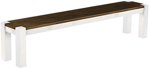 Brasil Furniture zitbank Rio Kanto grootte en kleur selecteerbaar massief houten eetkamerbank keukenbank houten bank echt hout passend bij de tafels en stoelen Maxibank Maxikruk landhuis Bank 208 cm 203 eiken wit