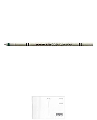 ゼブラ エマルジョンボールペン替芯 ESB-0.7 緑 RESB7-G 【× 4 本 】 + 画材屋ドットコム ポストカードA