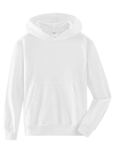 Spring&Gege Youth Solid Pullover Sport Hoodies Soft Kids Hooded Sweatshirts for Boys and Girls Size 11-12 Years White