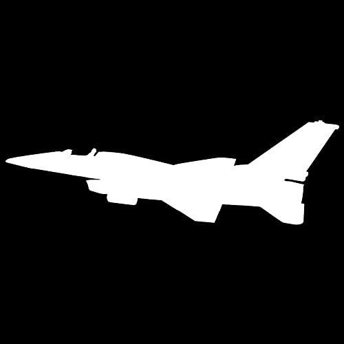 Fighter Jet F-16 Silhouette - Adhesivo decorativo para coche, vinilo danzado, diseño de anime, impermeable, para motocicleta, para decoración de coche, color blanco (25 cm)
