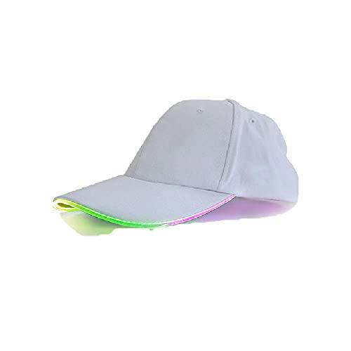 Sombrero con luz LED Blanca, Gorra de béisbol con iluminación LED, Gorra con luz LED Que Cambia la Gorra de Fibra de Color de Halloween
