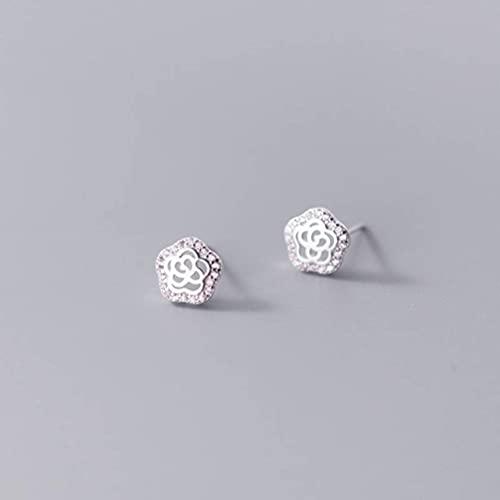 BEWITCHYU S925 Silver Shao Ladies Hollow Flower Stud Pendientes Ladies Diamond Ear JewelryPlata, Plata 925