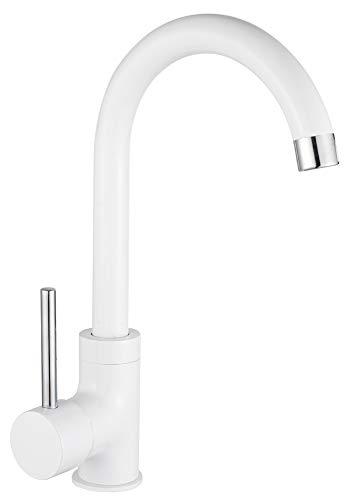 Sanlingo - Design-Küchenarmatur, Schwenkauslauf 360°, Weiß