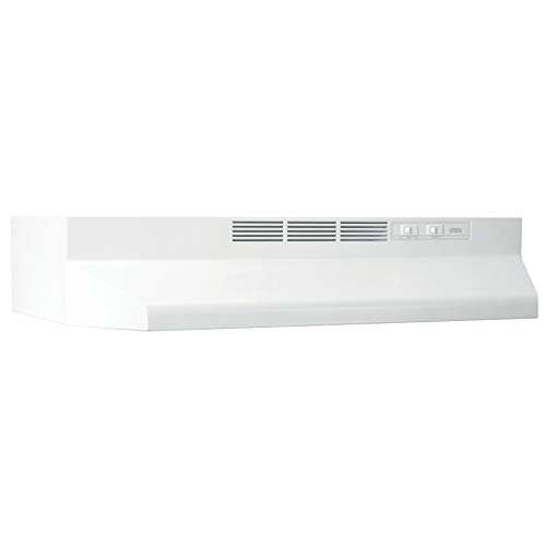 Broan-NuTone BUEZ121WW Ductless Under-Cabinet White Range Hood Insert with Lights, 21-Inch