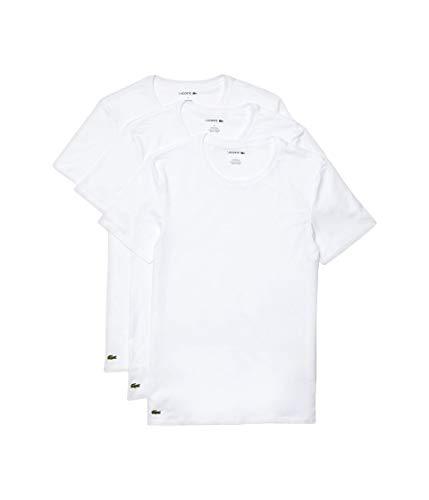 Lacoste Men's Essentials 3 Pack 100% Cotton Slim Fit Crew Neck T-Shirts, White, X-Small