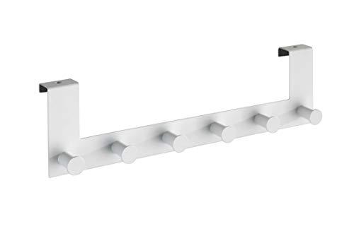 Wenko Türgarderobe Celano - Hakenleiste mit 6 Haken, für Türfalzstärken bis 2 cm, Stahl, 39 x 11 x 7,5 cm, weiß