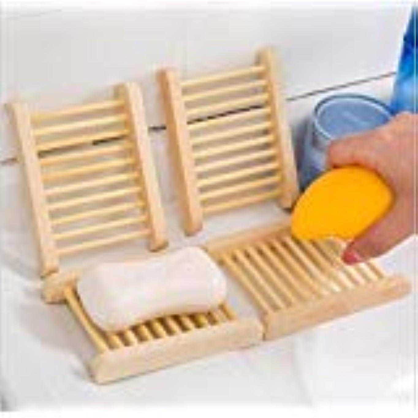 冬メロディー魅惑的なKINGZUO ソープトレー せっけんトレー 石鹸置き石鹸置き 石鹸ボックス ソープディッシュ 水切り お風呂 バス用品 木製 4個入り