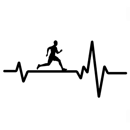 SCSHY Engomada del Coche 16,2 Cm * 7,5 Cm Moda Running Man Heartbeat Calcomanía Vinilo Negro/Plata Pegatina para Coche