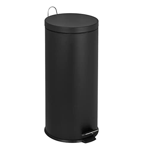 Poubelle de cuisine à pédale basique chic cylindrique 30L URBAN Noir mat en acier inox avec seau