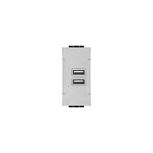 LineteckLED -LNT821A- Serie Completa Materiale Elettrico Fai da te- Presa USB Input 90-265V 50/60Hz 0.4A - Output 5V 2A Due Uscite Compatibile living (Grigio)