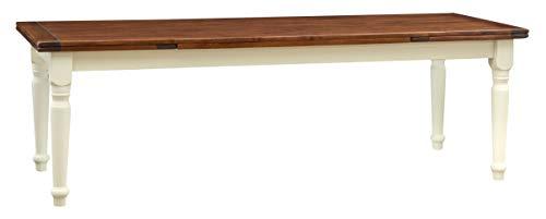 Biscottini Table Extensible en Bois Massif de Tilleul – Style Country – Style Shabby – Structure Blanche vieillie Plan Noyer L 250 x P 100 x H 80 cm