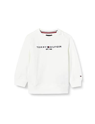 Tommy Hilfiger Essential Logo Sweatshirt Maglione, Bianco (White), 92 Bambino