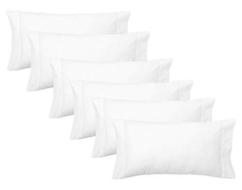 ADP Home - Pack de 6 Und. Funda de Almohada de 90, 50/50% POLIALGODÓN, Textil para HOSTELERÍA, Medida: 45x110 cm, Blanca
