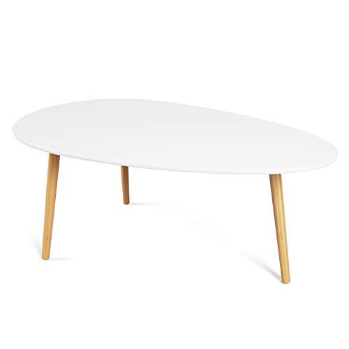 Homfa Tavolino Basso da Salotto Tavolino Ovale da caffè Tavolo da Salotto Moderno per Soggiorno Tavolino da Salotto da caffè Ovale Moderno in Legno (Bianco)