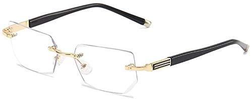 BBGSFDC Gafas de Lectura sin Montura Hombres Mujeres Anti Blue Light Computer Lection Lection Gafas para Lector de Presbicia de Moda (Color : Gold, Size : 250)