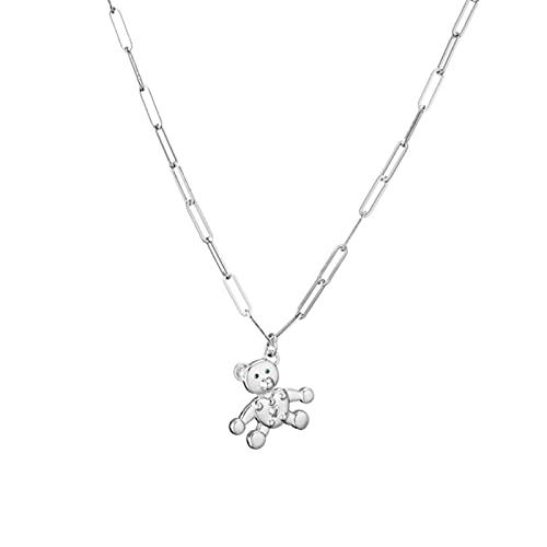 HJURTB Hecheng, Collares de Cadena de Oso de circón cúbico Hueco con Encanto para Mujer, Collar de Animal de Color Dorado, Regalo de joyería
