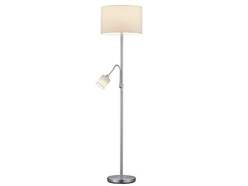 Lámpara de pie LED clásica con lámpara de lectura y pantallas de tela en color blanco, altura 170 cm, iluminación de pie elegante y atemporal