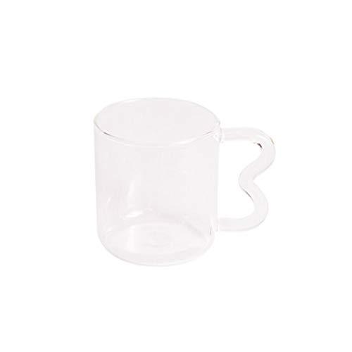 JSJJAWS Taza de Agua Diseño Original Taza de Cristal de Oreja Colorida Hecha a Mano Taza de café de Onda Simple para Agua Caliente (Capacity : 301 400ml, Color : Shadowless Clear)