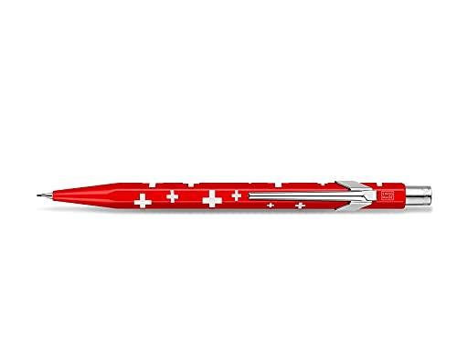 Caran d'Ache Metal-X Minenhalter Basic mit schweizer Flagge Metallgehäuse für 0,7 mm Bleistift-Minen, Länge: 12,5 cm, 0844.253, Rot