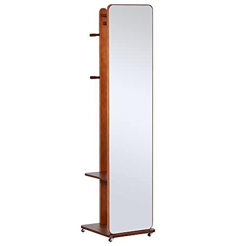 HOMCOM Miroir sur Pied avec roulettes - Portant, 4 patères étagère MDF Imitation Noyer