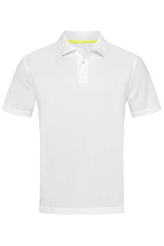 Stedman Active pour Homme Respirant Polyester texturée Polo Sport pour Femme S-XXL - Blanc - Large