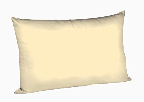 Fleuresse Taie d'oreiller Couleurs Satin Uni 9100-215, Satin Mako 40x60 cm Couleur Vanille, 100% Coton, avec Fermeture éclair
