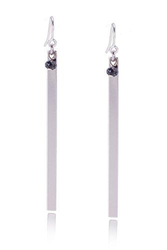 Tom Shot Damen Ohrringe Platte Swarovski-Kristall - Ohrhänger schmale Platte Schild Gravurplatte Swarovski-Kristall versilbert - 91or0112s