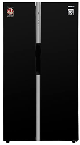 Panasonic 592 L Wifi Inverter Frost-Free Side by Side Refrigerator (NR-BS62GKX1, Black, Premium Glass Finish)
