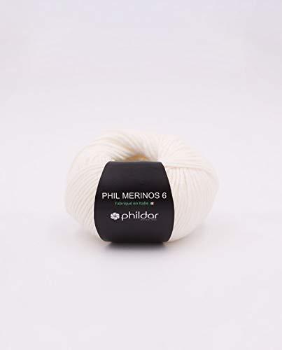 Superwash Pure Merino Wool Knitting Yarn, Worsted Weight Phildar Merinos 6 (Craie)