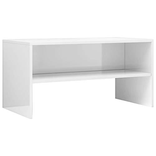 vidaXL Mueble TV Estante Mesa Baja Televisión Aparador Televisor Módulo Diseño Simple Compartimento Comedor Salón Habitación Aglomerado Blanco Brillo