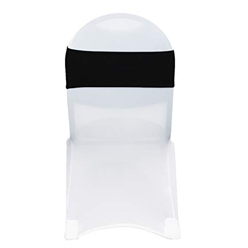 Your Chair Covers - Stretch Spandex Chair Bands - Black (Pack of 10), Universal Elastic Chair Cover Bands for Banquet, Party, Hotel Event Decorations