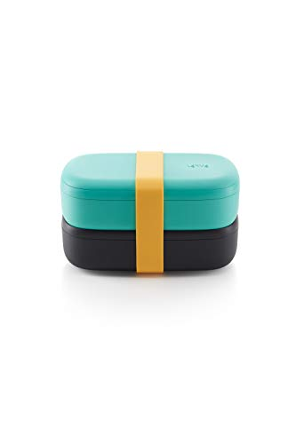 Lékué LunchBox To Go - Recipiente hermético para transportar y conservar alimentos, Polipropileno, Turquesa