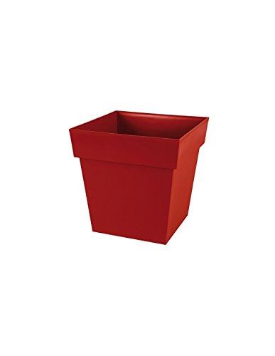 EDA Plastiques Pot carré TOSCANE Rouge Rubis 39 x 39 x 39 cm 13627 R.RU SX3