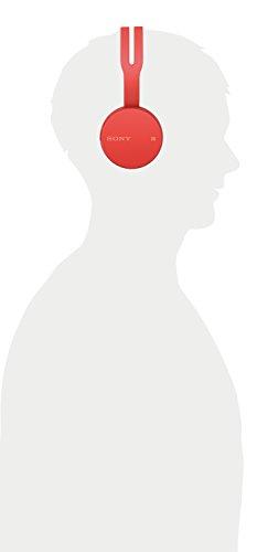 Sony WH-CH400 kabelloser Bluetooth Kopfhörer (Bis zu 20 Stunden Akkulaufzeit, Freisprechfunktion, NFC, Headset mit Mikrofon für Telefon & PC/Laptop) rot