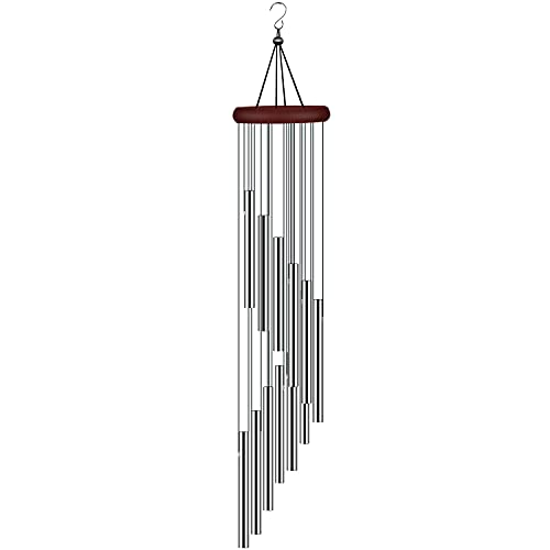 tujol Wind Chimes for Outside, Sympathy Wind Chimes Outdoor Clearance with 12 Aluminum Alloy Tubes and Hook, Memorial Wind Chimes Gift Decoration for Home, Patio, Garden, Outdoor
