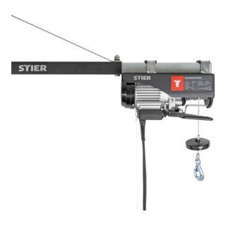 STIER Elektrischer Seilzug, Tragkraft 500 kg, Leistung 900 W, Hebehöhe bis 12 m, inkl. Befestigungsbügel, einfache Montage, hohe Sicherheit durch Not-Aus-Schalter