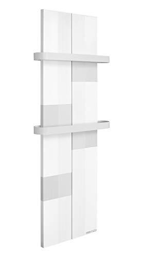 Finesa Radiador de baño, calentador de toallas, salida de calor 400-1000 W, conexión central, secador de toallas, toallero (800 x 404, blanco y gris)