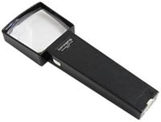 虫眼鏡 角型ライトルーペ 2倍&4倍 70×70mm ライト付き ルーペ 拡大鏡 手持ちルーペ 池田レンズ