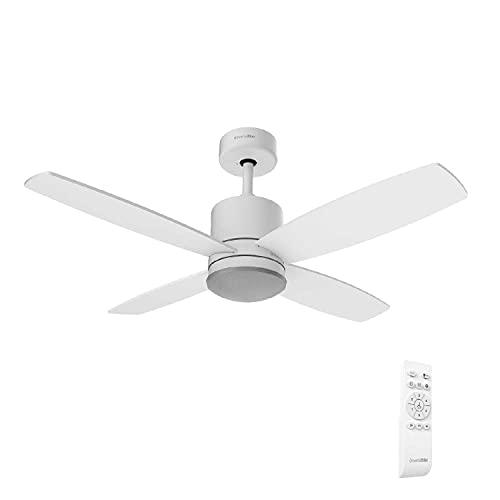 UNIVERSALBLUE | Ventilador de Techo Blanco con Luz LED Silencioso | Mando a Distancia | 4 Aspas | Diámetro 106 cm | Potencia 55 W | Temporizador | Motor DC | 6 Velocidades
