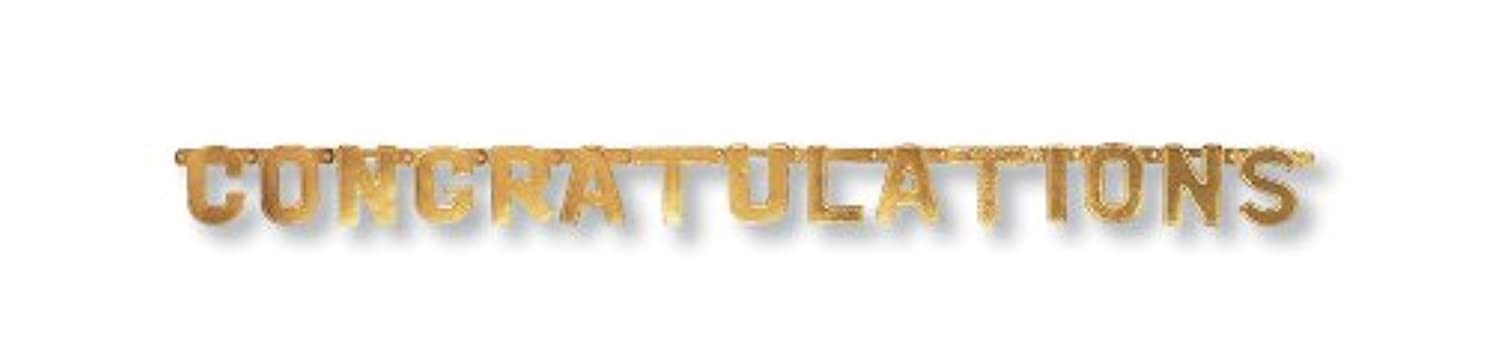 Creative Converting Gold Paper Art Small Letters Jointed Banner, Classic Congratulations