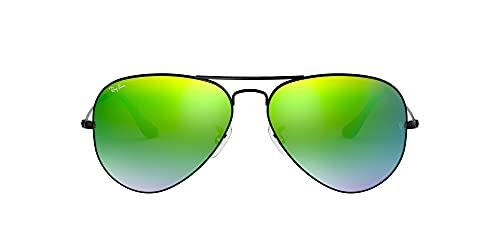 Ray-Ban Occhiali da Sole Unisex-Adulto, Nero (Shiny Black), 55 mm