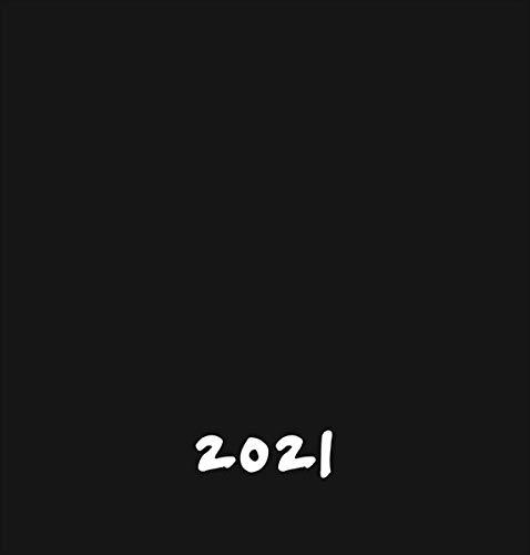 Bastelkalender 2021 schwarz mittel - mit Titelblatt zum Selbstgestalten und Monatskalendarium - Format 21 x 22 cm
