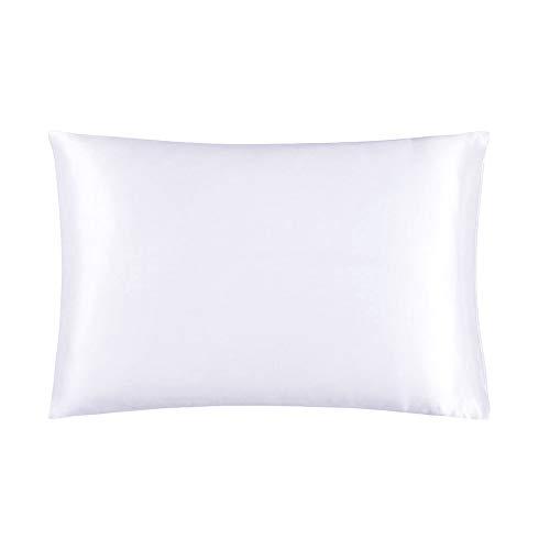 Mommesilk Kopfkissenbezug Maulbeerseide Kissenbezug 1 STK mit Hotelverschluss Haarpflege BEIDE Seite aus 19 Momme Seide 40x80cm Weiß