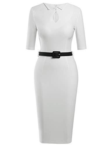 MUXXN Women's Audrey Hepburn 1960s Style Empire Waist Tea Length Juniors Prom Dress (White XL)