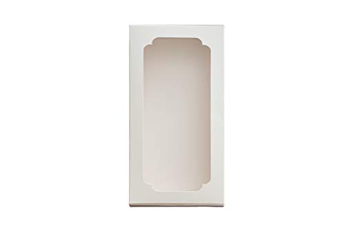 Bakery Paperboard Box with Window for Pastries, Cookies, Cakes, Pies, etc. (White or Brown Pink/Size 8.66 x 4.5 x 1.18 in) Set of 15 (White)