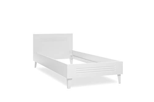 AVANTI TRENDSTORE - Fey - Fusto letto singolo in legno laminato di colore bianco, senza rete a doghe e materasso. Disponibile in due misure. (90x200 cm)