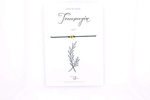 Trauzeugin fragen Karte mit Armband Zweig grün, Wunscharmband mit Engel, Herz, Stern, Blume oder Herz Anhänger, Farbwahl, Geschenk Hochzeit