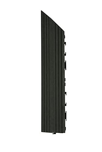 Decko - Azulejos de madera compuesta (37 x 7 cm), color negro